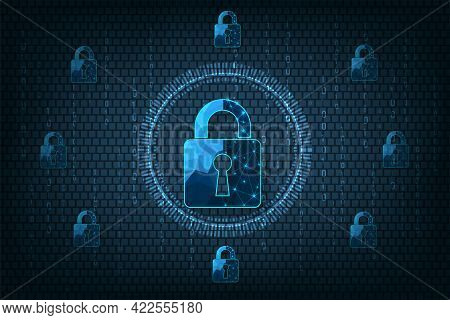Data Prevent And Cyber Security Concept.visualization Of Cyber Security With Padlock  Lock On Dark B