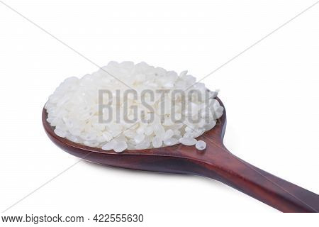Isolated Raw Rice With Clipping Path. Raw Rice Japanese In Wooden Spoon On White Background. Asian W