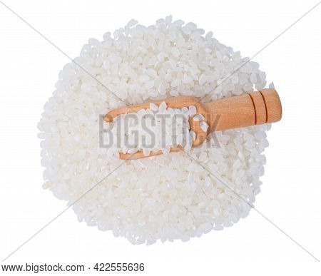 Isolated Raw Rice With Clipping Path. Raw Rice Japanese In Wooden Scoop On White Background. Asian W