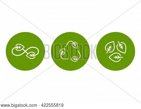 Eco Recycle Icons Set. Eco Sign Isolated On White. Vector Reuse Illustration. Green Flat Symbol. Lea