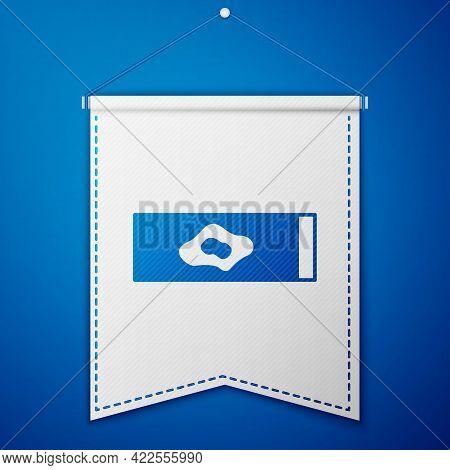 Blue Blood Test And Virus Molecule Coronavirus Icon Isolated On Blue Background. Coronavirus, Covid-