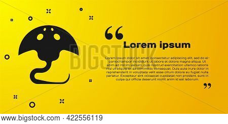 Black Stingray Icon Isolated On Yellow Background. Vector