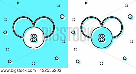 Black Line Bingo Or Lottery Ball On Bingo Card With Lucky Numbers Icon Isolated On Green And White B