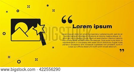 Black Photo Retouching Icon Isolated On Yellow Background. Photographer, Photography, Retouch Icon.
