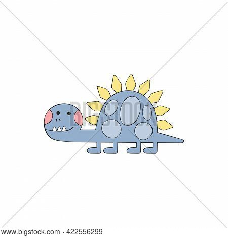 Dinosaur. Brontosaurus. Cartoon Character. Isolated Vector Object On White Background.
