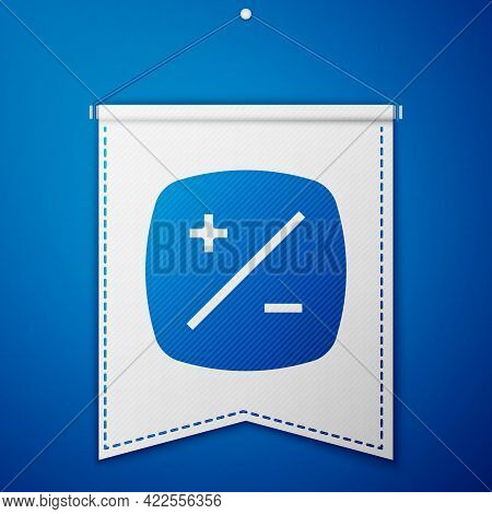 Blue Exposure Compensation Icon Isolated On Blue Background. White Pennant Template. Vector