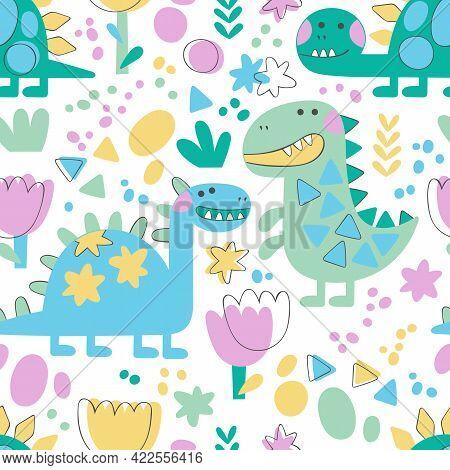 Dinosaur: Tyrannosaurus, Diplodocus, Brontosaurus, Stegosaurus. Cartoon Animals. Plants: Flowers And