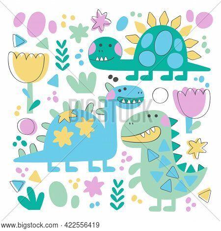 Dinosaur: Tyrannosaurus, Diplodocus, Brontosaurus. Cartoon Animals. Plants: Flowers And Leaves. Dood