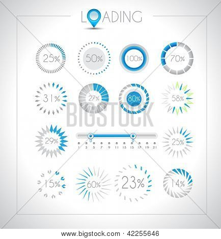 Set of Loading design elements - a lot of different styles with space for percentage