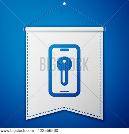 Blue Smart Key Icon Isolated On Blue Background. White Pennant Template. Vector