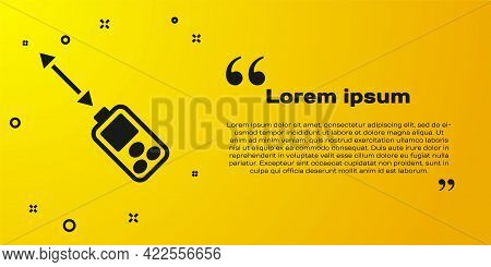 Black Laser Distance Measurer Icon Isolated On Yellow Background. Laser Distance Meter Measurement E