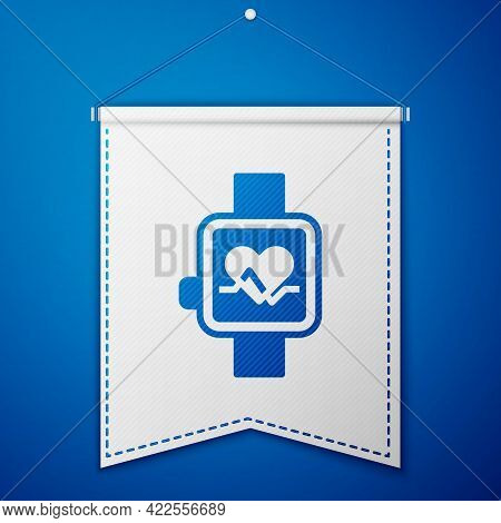 Blue Smart Watch Showing Heart Beat Rate Icon Isolated On Blue Background. Fitness App Concept. Whit