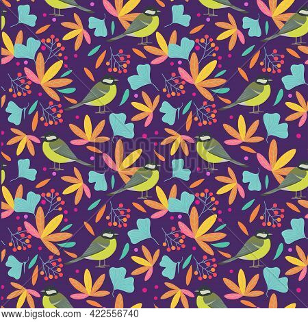 Seamless Pattern With Cute Birds, Leaves And Berries. Vector Illustration.