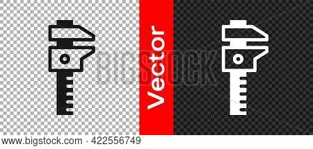 Black Calliper Or Caliper And Scale Icon Isolated On Transparent Background. Precision Measuring Too