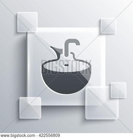 Grey Washbasin Icon Isolated On Grey Background. Barber Washing Chair With Washbasin. Hair Washing C