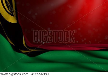 Nice Dark Picture Of Vanuatu Flag Lying Diagonal On Red Background With Soft Focus And Empty Place F