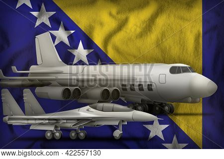 Air Forces On The Bosnia And Herzegovina Flag Background. Bosnia And Herzegovina Air Forces Concept.