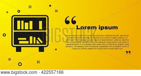 Black Shelf With Books Icon Isolated On Yellow Background. Shelves Sign. Vector