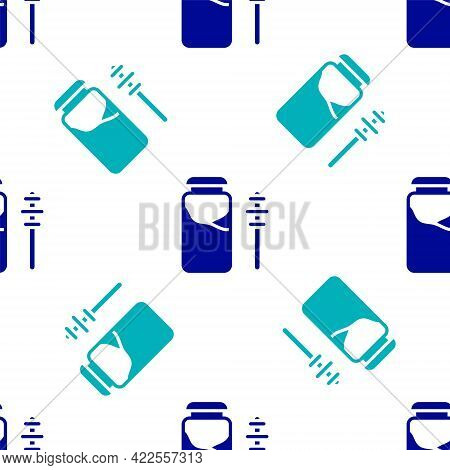 Blue Jar Of Honey And Honey Dipper Stick Icon Isolated Seamless Pattern On White Background. Food Ba