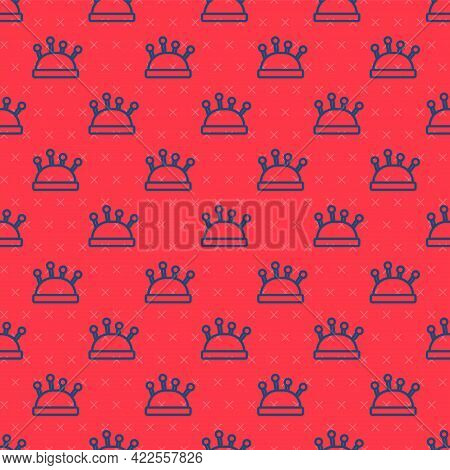 Blue Line Needle Bed And Needles Icon Isolated Seamless Pattern On Red Background. Handmade And Sewi