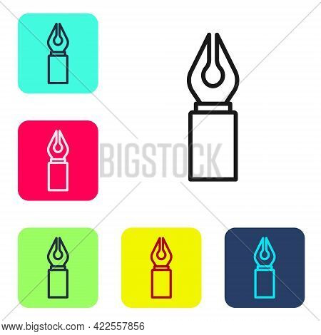 Black Line Fountain Pen Nib Icon Isolated On White Background. Pen Tool Sign. Set Icons In Color Squ