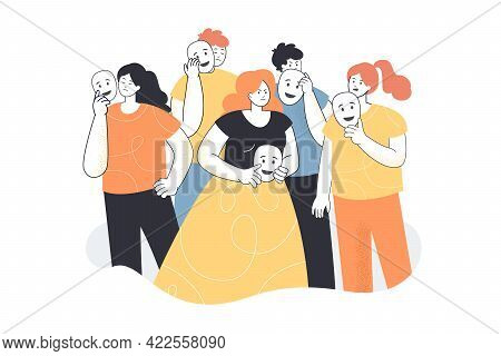 People Faking Emotions Vector Illustration. Depressed Guys Covering Faces With Masks. Personality, P