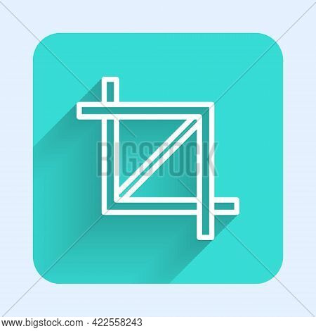 White Line Picture Crop Photo Icon Isolated With Long Shadow. Green Square Button. Vector