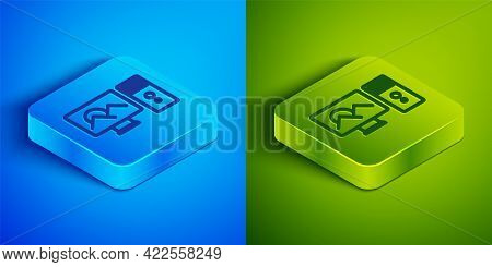 Isometric Line Photo Retouching Icon Isolated On Blue And Green Background. Photographer, Photograph