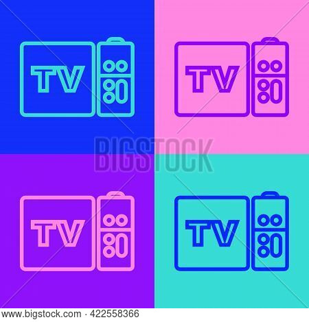 Pop Art Line Multimedia And Tv Box Receiver And Player With Remote Controller Icon Isolated On Color