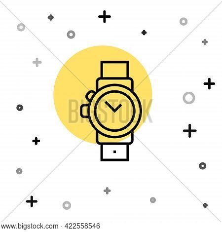 Black Line Wrist Watch Icon Isolated On White Background. Wristwatch Icon. Random Dynamic Shapes. Ve