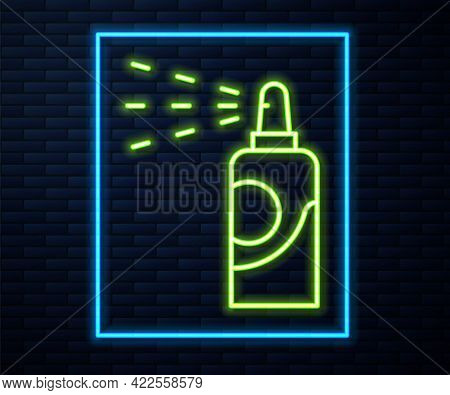 Glowing Neon Line Spray Can For Hairspray, Deodorant, Antiperspirant Icon Isolated On Brick Wall Bac