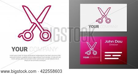 Logotype Line Scissors Hairdresser Icon Isolated On White Background. Hairdresser, Fashion Salon And