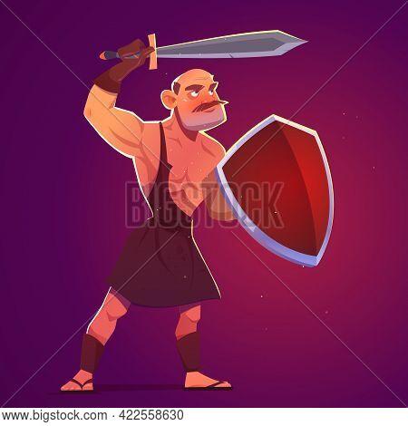 Ancient Greek, Spartan Or Roman Warrior, Gladiator With Sword And Shield. Vector Cartoon Illustratio