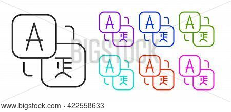 Black Line Translator Icon Isolated On White Background. Foreign Language Conversation Icons In Chat