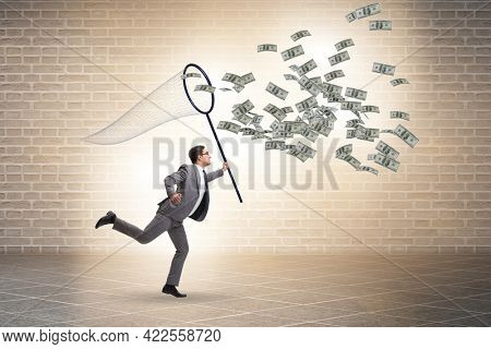Young businessman catching dollars with landing net