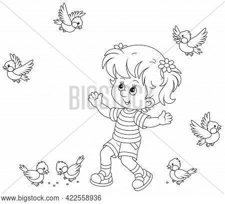 Happy Little Girl Playing With A Small Flock Of Merry Sparrows And Titmice, Black And White Outline