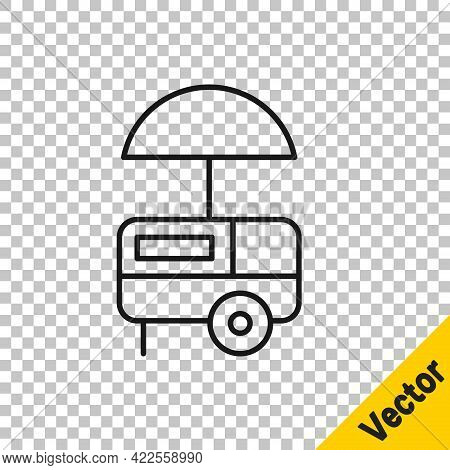 Black Line Fast Street Food Cart With Awning Icon Isolated On Transparent Background. Urban Kiosk. I