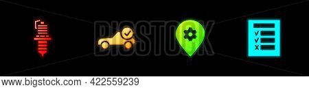 Set Car Spark Plug, Auto Service Check Automotive, Location With Car And Inspection Icon. Vector