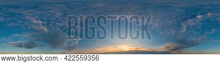 Dark Blue Sunset Sky Pano With Cirrus Clouds. Seamless Hdr Panorama In Spherical Equirectangular For