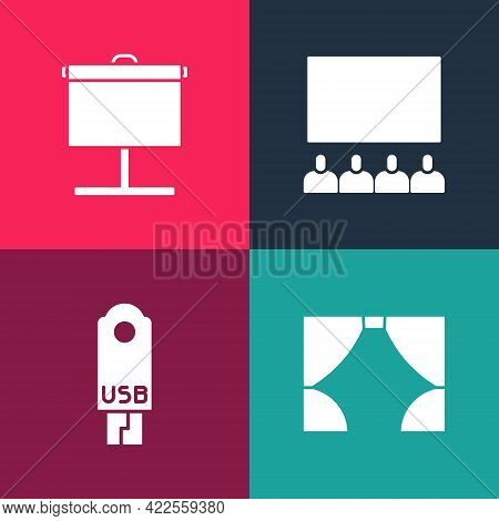 Set Pop Art Curtain, Usb Flash Drive, Cinema Auditorium With Screen And Projection Icon. Vector