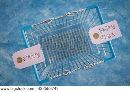 Dairy Vs Dairy-free Product Tags With Shopping Basket, Plant-based Food Or Allergies And Nutritional