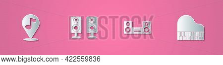 Set Paper Cut Location Musical Note, Stereo Speaker, Home Stereo And Grand Piano Icon. Paper Art Sty