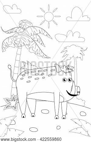 Jungle, Africa Safari Animal Boar Coloring Book Edicational Illustration For Children. Vector White