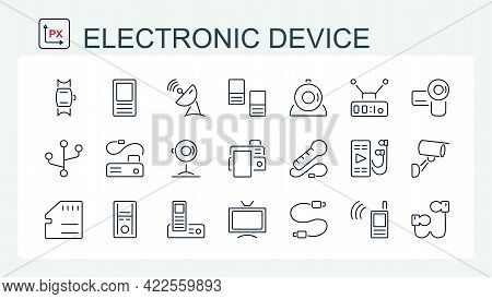 A Set Of Vector Illustrations, Icons Of Electronic Devices From A Thin Line. Video, Surveillance, Pr