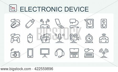 A Set Of Vector Illustrations, Icons Of Electronic Devices From A Thin Line. Video, Photo, Phone, Ga