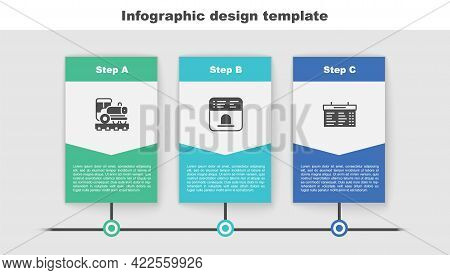 Set Vintage Locomotive, Ticket Office To Buy Tickets And Train Station Board. Business Infographic T