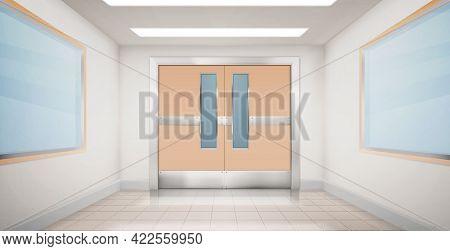 Doors In Hallway Of Hospital, Laboratory Or School. Empty Corridor Interior With Double Metal Doorwa