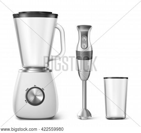 Hand Blender, Food Processor And Clear Plastic Glass. Electric Kitchen Machine For Blend Juice, Soup