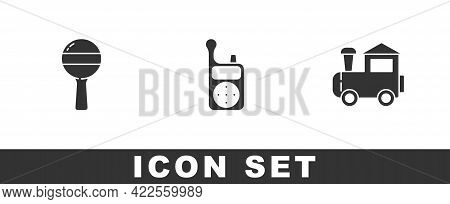 Set Rattle Baby Toy, Baby Monitor Walkie Talkie And Toy Train Icon. Vector