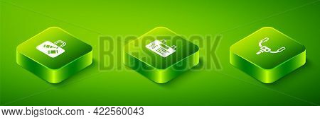 Set Isometric Airport Board, Aircraft Steering Helm And Suitcase Icon. Vector